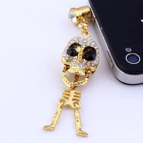 Top Plaza 1/5/10 Pcs 3.5Mm Crystal Metal Punk Skull Skeleton Anti Dust Plug Stopper For Iphone, Ipad, Samsung, Htc, Ipod (1 Pc)