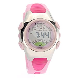 Foxnovo PASNEW PSE-219 Waterproof Children Boys Girls LED Digital Sports Watch with Date /Alarm /Stopwatch (Pink)