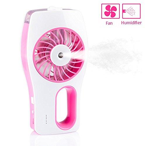 CrazyFire Mini Ventilateur l'Eau Humidificateur USB de Poche Rechargeable Protable HandheldHumidifier Refroidessement pour l'Eté(Rose)