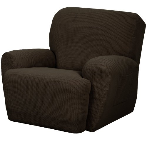 Maytex Stretch Reeves 4-Piece Recliner Slipcover, Chocolate front-933404