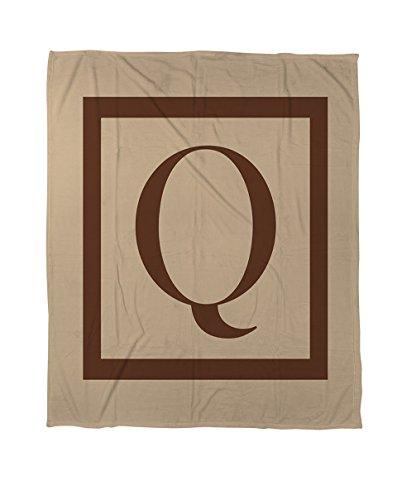 Thumbprintz Duvet Cover, Queen/Full, Monogrammed Letter Q, Caramel Classic Block front-476911