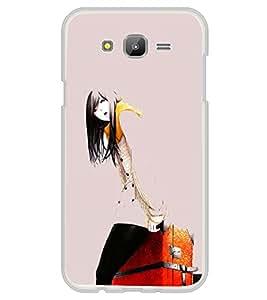 Girl with Travel Bag 2D Hard Polycarbonate Designer Back Case Cover for Samsung Galaxy E5 (2015) :: Samsung Galaxy E5 Duos :: Samsung Galaxy E5 E500F E500H E500HQ E500M E500F/DS E500H/DS E500M/DS