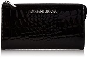 Armani Jeans U7 Printed Croc Pouch Wallet, Black, One Size
