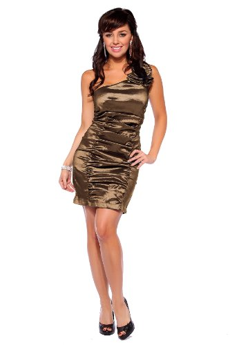 One Shoulder Ruched Evening Cocktail Party Taffeta Metallic Mini Dress , Medium, Vintage Gold