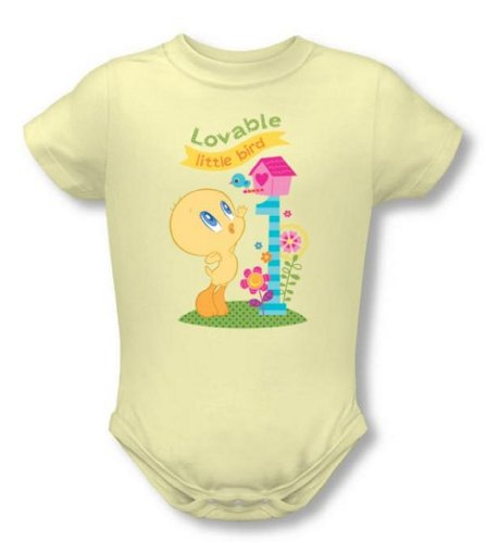 Looney Tunes - Tweety Pie Lovable Little Bird Infant Snapsuit T-Shirt, (Yellow, 6M)