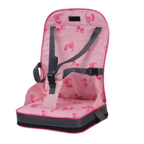 Portable Foldup Folding Baby Kid Toddler Infant Child Newborn Diner Feeding Travel High Chair Booster Seat Cover Safety Harness Cushion Pouch Bag (Pink)