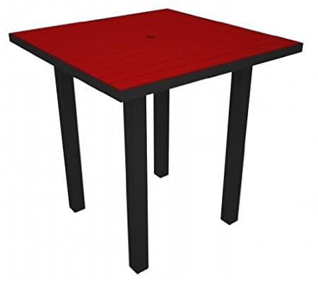 Euro Counter Table Frame Finish: Textured Black, Top Finish: Sunset Red