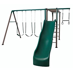 Lifetime Monkey Bar Adventure Swing Set with 9 Foot Wavy Slide (Earthtone)