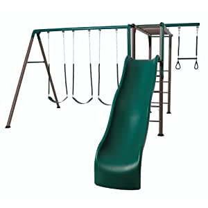 Lifetime 90143 Monkey Bar Adventure Swing Set with Wavy Slide, 9-Feet (Earthtone)
