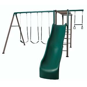 Lifetime 90143 Monkey Bar Adventure Swing Set with Wavy Slide, 9-Feet (Earthtone)