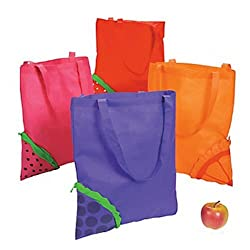 4 ~ Pop-out Fruit Tote Bags / Shopping Bags ~ 16' X 15' with 10' Handles ~ Poly Non-woven ~ New