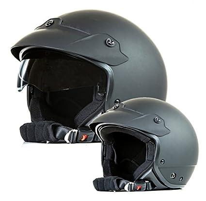 Protectwear H740-L Casque Jet avec Visière et Bouclier, Noir Brillant, Taille L