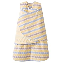 HALO SleepSack Micro-Fleece Swaddle, Yellow Waves, Small