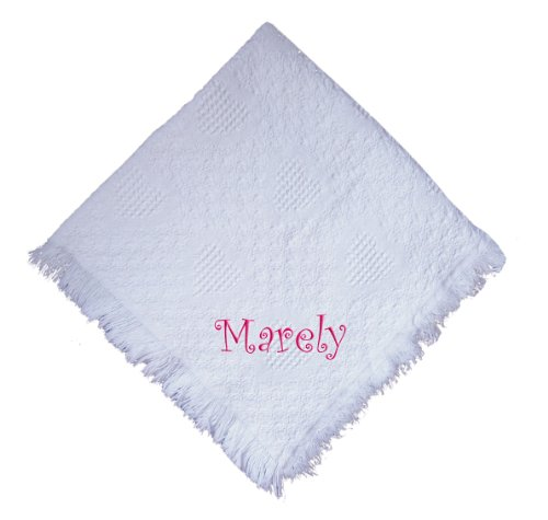 Custom Embroidered Monogrammed White Girl Cotton Woven Personalized Baby Blanket Black Thread front-964296