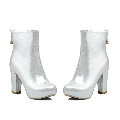 Voguezone034 Womens Closed Round Toe High Heel Soft Material Short Plush Solid Boots With Zipper, Silver, 7 B(M) Us