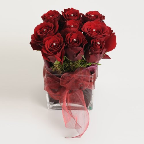 Fresh Flowers Delivered - Red Roses Diamante Cube Fresh Flowers Arrangement