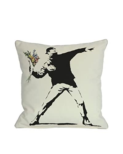 Oliver Gal Rage Flowers Pillow, White/Black