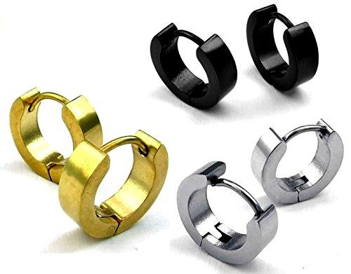 In acciaio INOX, Unisex, in tinta unita, con piccoli orecchini a cerchio, a cerniera, Set di 3 paia, colore: nero/oro/argento