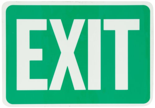 "Smartsign Photoluminescent Adhesive Sign, Legend ""Exit"", 7"" High X 10"" Wide, Green On Glow"