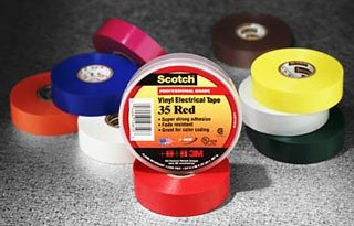"""3M Scotch 35 Vinyl Color Coding Electrical Tape, 32 To 221 Degree F, 1250 Mv Dielectric Strength, 66' Length X 3/4"""" Width, Blue"""