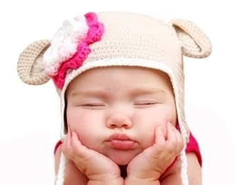 Melondipity Oatmeal Organic Crochet Baby Bear with Flower (0-6)