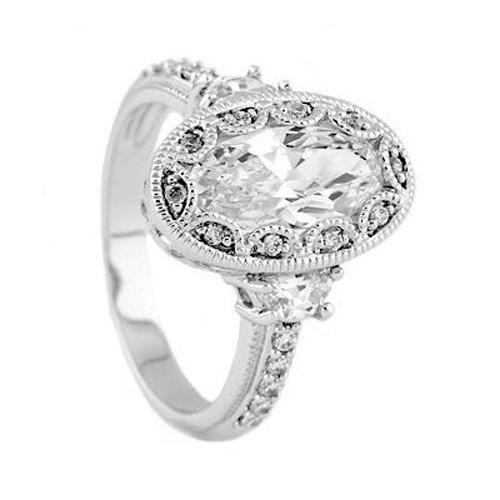 Silver Antique Milgrain Oval Cut Cubic Zirconia Engagement Ring
