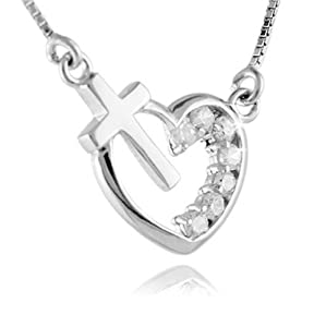 Yasson Bling Fashion Jewelry 925 Sterling Silver Cross and Love Heart with White Crystal Inlayed Pendant Necklace