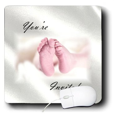 Mp_193049_1 Florene - Special Events - Print Of Baby Shower Invite With Newborns Feet - Mouse Pads