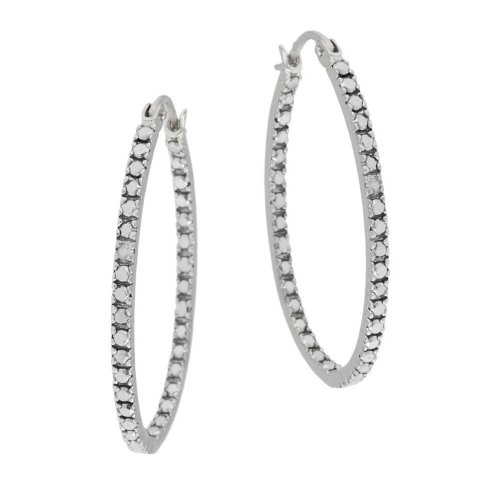 Sterling Silver Diamond-Accent Oval Hoop Earrings (0.9