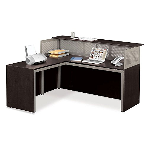 Reception L-Desk with Left Return, Espresso Laminate/Brushed Nickel - At Work Collection (Laminate Reception Desk Espresso compare prices)