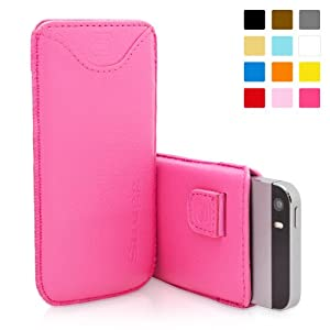 Snugg iPhone 5 / 5S Leather Case in Hot Pink - Pouch with Card Slot, Elastic Pull Strap and Premium Nubuck Fibre Interior for the Apple iPhone 5 / 5S