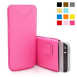iPhone 5 / iPhone 5S Case, SnuggTM - Pink Leather Pouch Cover with Card Slot & Soft Premium Nubuck Fibre Interior - Protective Apple iPhone 5S Sleeve Case - Includes Lifetime Guarantee