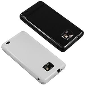 mumbi 2 x TPU Silikon Schutzhülle für Samsung i9100 Galaxy S II schwarz/weiß