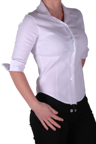 Womens polyester 3 4 sleeve flat collar office work plain for Fitted white dress shirt womens
