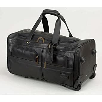 Luggage 22 2 wheeled leather travel duffel color black clothing for Leather luggage wheeled duffel