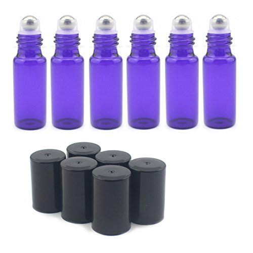 Mavogel 5ml Glass Roller Bottles--Set of 6 with With Metal Ball for Essential Oil,Aromatherapy,Perfumes and Lip Balms,Violet Colored (5ml Glass Roller Bottles compare prices)