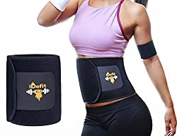 iDofit Neoprene Adjustable Waist Trimmer Ab Belt - Sauna Belt Weight Loss Band Slimming Stomach Wrap Belly Fat Burner Sweat Tummy Wraps Abdominal Slimmer Lumbar And Low Back Support For Men and Women