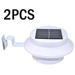 VicTsing 2PCS 3 LED Solar Powered Power Fence Gutter Light Outdoor Fence Garden Wall Lobby Pathway Lamp-Energy SaverWith High Technology by VicTsing