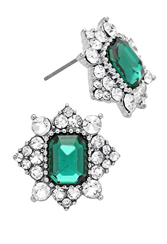 Rosemarie Collections Crystal Rhinestone Emerald Color Stud Earrings