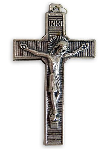 "Catholic Gift Religious Keepsake 1 3/4"" Silver Tone Ribbed Style Inri Cross With Halo Corpus Pectoral Crucifix Pendant"