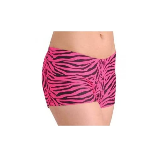 Child Booty Shorts, Hot Pants for Dance in Pink Zebra Small