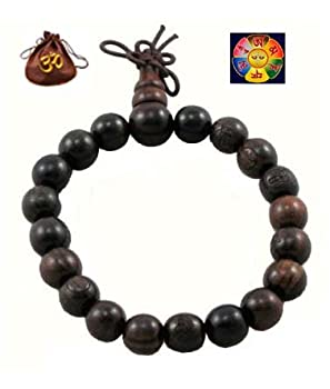 Tibetan Buddhist Wooden Prayer Beads Mala Bracelet with Hemp Om Bag