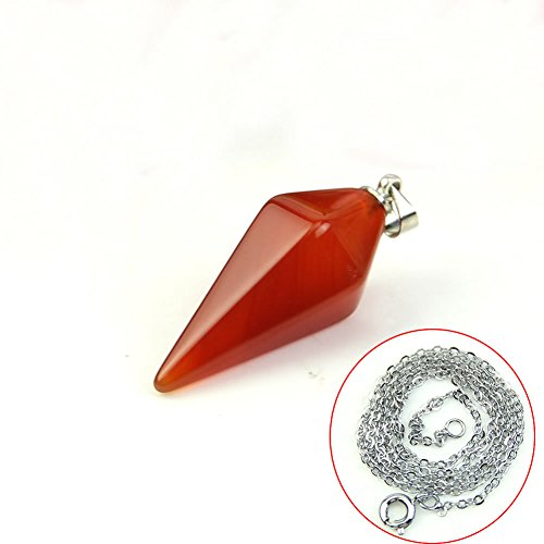 HeroNeo® New Gemstone Crystal Pendulum Healing Chakra Dowsing Reiki Pendant For Necklace (Red Agate)