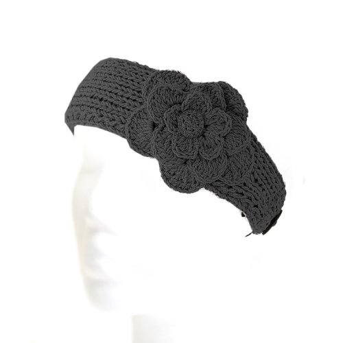 Angel Hand Made Knitted Dandy Floral Cotton Headband Black Color