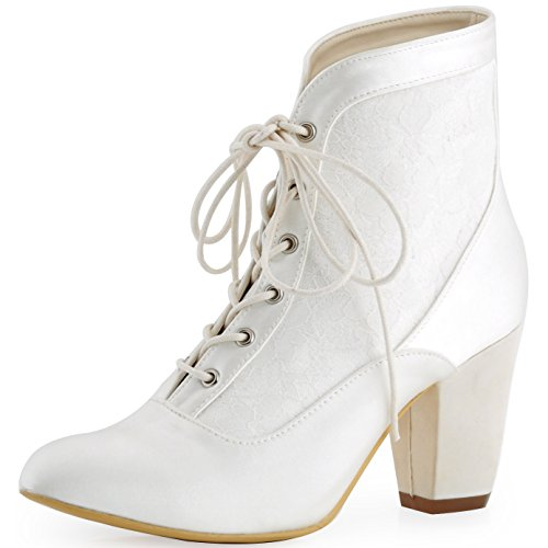elegantpark hc1528 femmes satin bottes bottines de mariee mariage - Chaussures Compenses Blanches Mariage