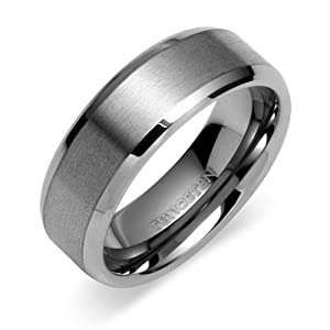 Tungsten Carbide 8 mm (5/16 in) Comfort Fit Flat Wedding Band Ring w/ Brushed Center & Beveled Edge (Available in Sizes 8 to 11) size 10