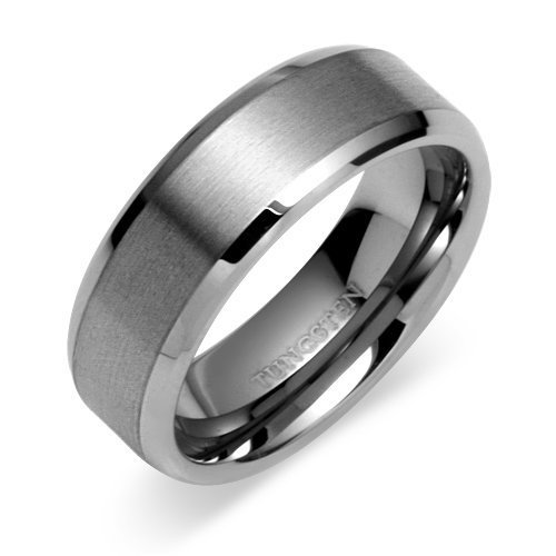 Tungsten Carbide 8 mm (5/16 in) Comfort Fit Flat Wedding Band Ring w/ Brushed Center & Beveled Edge (Available in Sizes 8 to 11) size 10.5
