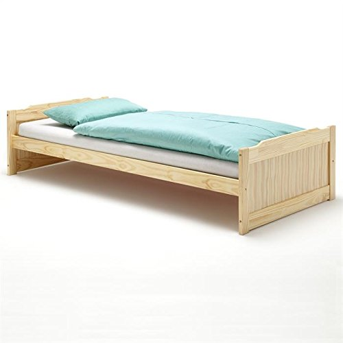 Lit simple lit enfant FRITZ 90 x 200 cm pin massif vernis naturel