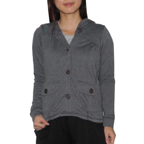 Billabong Girls Warm Casual Hoodie Sweatshirt Jacket - Grey - Size: M