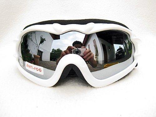 Alpland Skibrille Snowboardbrille Weiss - SILVER LENS!